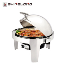 C179 Stainless Steel Round Roll Top Chafing Dish With Electric Water Pan