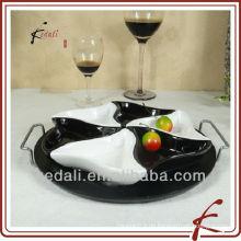 Heißer Art-Großverkauf-keramischer Porzellan-Umhüllung-Behälter-Teller