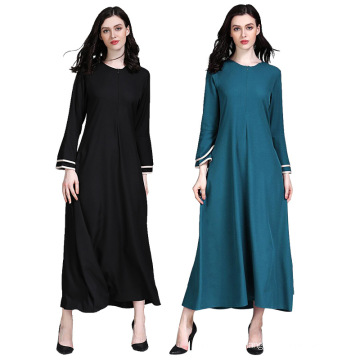 Latest Fashion Muslim Long Dress Women Muslim Lady Dress Blue Black Front Close Abaya Egypt
