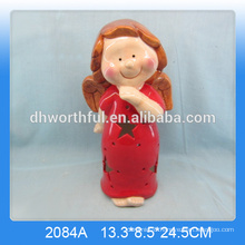 Wholesale ceramic angel ornaments,lighted christmas angel with led light
