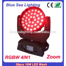 36pcs 10W RGBW 4in1 led wash moving head zoom LED stage light