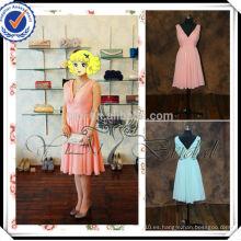 RSE221 V cuello del hombro vestido de dama de honor color coral corto