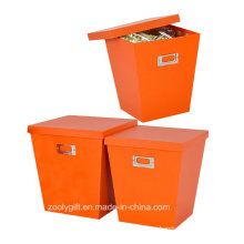 Orange Color Home Organizer Doll Clothes Paper Storage Boxes