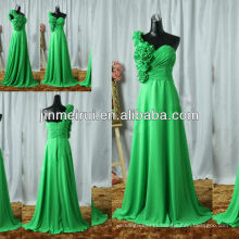 Real picture beautiful green a line one shoulder handmade flower chiffon long prom dress JPD117