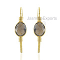 925 Silver Earrings, Smoky Quartz Gemstone 18k Gold Earrings For Women