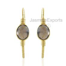 925 Brincos de Prata, Smoky Quartz Gemstone 18k Gold Earrings For Women