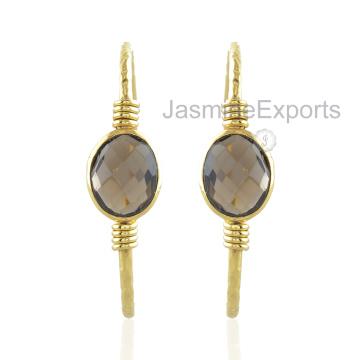 925 серебряные серьги, дымчатый кварц драгоценный камень 18k Золотые серьги для женщин