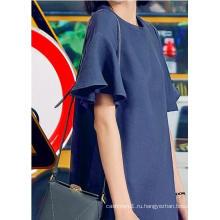 Простые и аккуратные простые короткие круглый шеи рукавом платье женщин
