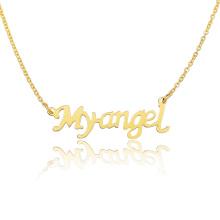 Letra personalizada Collar de Myangel Collar de cadena de oro 18k