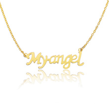 Персонализированные письмо Myangel ожерелье 18k золото табличка ожерелье цепь