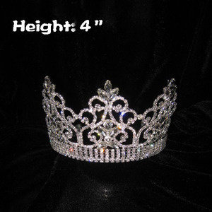 4inch Crystal Pageant Crowns With Clear Diamonds