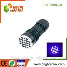 Venta al por mayor OEM de alta calidad portátil de inspección ultravioleta de aleación de aluminio 370-375nm Money Detector 21 linterna uv llevó