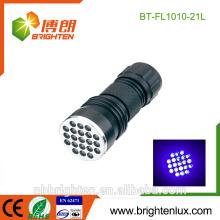 Bulk Sale OEM High Quality Handheld Portable Inspection Ultraviolet Aluminum Alloy 370-375nm Money Detector 21 uv flashlight led