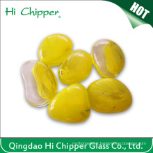 Yellow Colored Fire Pit Glass Pebbles