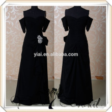 RSE267 Short Sleeve Black Chiffon Dress Bridesmaid Robes