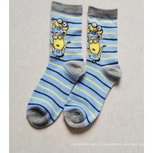 Chaussettes de bande dessinée de vente chaude de beaux enfants chaussettes de tube de bande dessinée