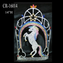 "14"" Big Rhinestone Rainbow Horse Pageant Crown"