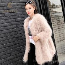 Высокое качество дизайнер натуральной Енот мех пальто