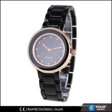 Montre bracelet rose en or rose, montre romanson quartz en acier inoxydable