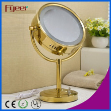 Fyeer Luxury Round Golden LED Makeup Table Mirror (M3028GF)