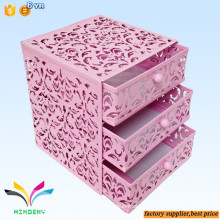 Hot sale colorful cube 3 floors drawer style metal custom desktop letter holder