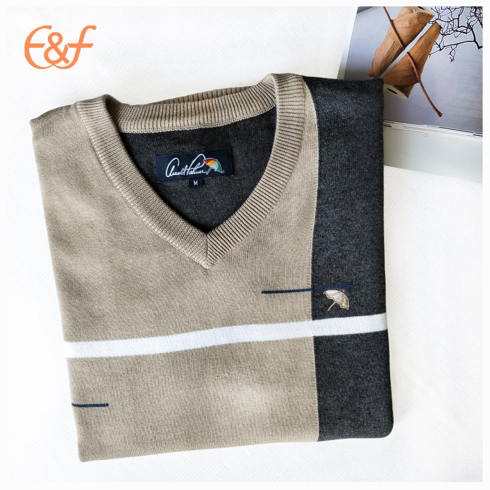 Fashion v neck cotton sweater