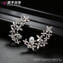 Silver Gold Flower Zircon Luxury Earring (28605)