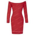 Kate Kasin Women's Solid Color Long Sleeve Red Off Shoulder Slim fit Dress KK000224-2