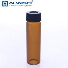 Fabricação de frascos de armazenamento Amber 40ML montados Capa de plástico no rack