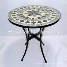 Mesa de azulejos de mosaico de metal
