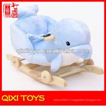 Dernière conception mignon cadeau peluche dolphin rocking chair avec des roues