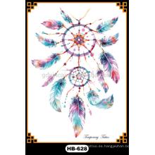 Tipo de pluma tatuaje de transferencia de agua tatuajes de plumas de colores tatuajes temporales