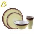 2018 new design 4pcs rustic printing round shape melamine dinnerware set