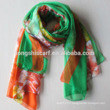 2016 Hot sale lady's polyester chiffon hijab printed scarf long shawl