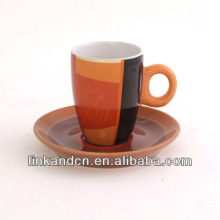 KC-03001high quality large orange tea cup with saucer,simple fashion coffee cup