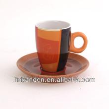 KC-03001 высококачественная большая чашка оранжевого чая с блюдцем, простая чашка кофе моды