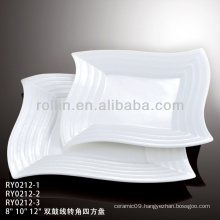 double line square white ceramic plate, dinner plate