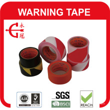 Fita de aviso de PVC branco linha preta