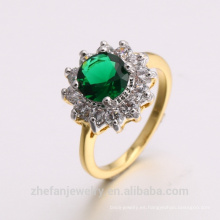 2018 nueva joyería dubai 24 K anillo de CZ esmeralda chapado en oro