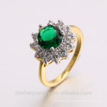 2018 novas jóias dubai 24 K banhado a ouro anel esmeralda CZ