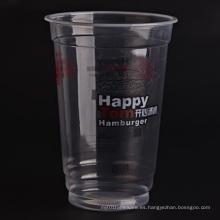 Tazas transparentes de plástico con tapas planas