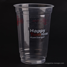 Tasses transparentes en plastique avec couvercles plats