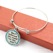 66 milímetros moda personalizado rodada jóias pulseira de metal encantos