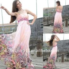 Astergarden Real muestra vestido de noche de gasa de color impreso sin tirantes AS139