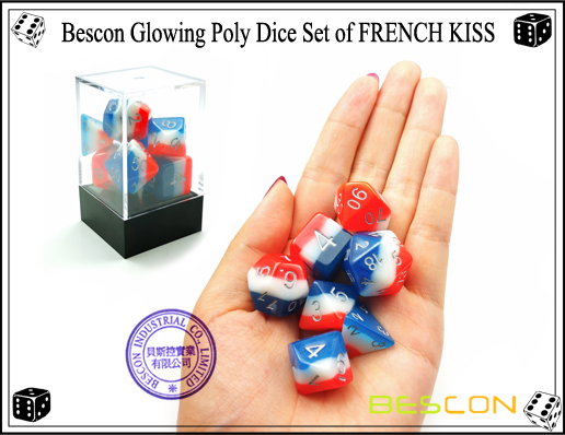 Bescon Glowing Poly Dice Set of FRENCH KISS-9