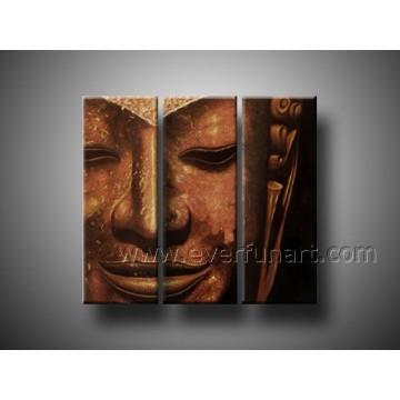 Pintura al óleo pintada a mano de Buda en lona
