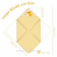 100% envoltório de algodão orgânico em amarelo pato bonito extra macio tamanho Grande 82 * 82 cm tamanho toalha de bebê