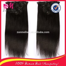 Top grade full head clip in hair extensions free sample easy to wear human hair extension clip in