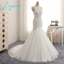 2017 Beading Pleat Tulle Rhinestone Wedding Dress Custom Made