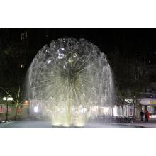 Escultura de la fuente de la esfera del dandlion del acero inoxidable con la luz del LED